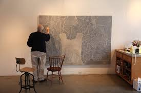 jasper johns painting a work from regrets in his connecticut studio