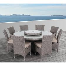 outdoor round dining table. OVE Decors Habra II 9-Piece Aluminum Round Outdoor Dining Set With Sunbrella Cushions Table W