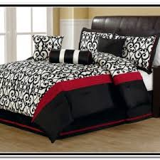Elegant Bedroom Ideas With Red Black White Bedding Sets, Eye Catching  Comforter Pattern, Eye