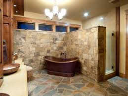 Rustic Bathroom Ideas With Stone Flooring And Bath Tub Also Sink