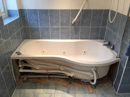 existing bath removed in wet room installation