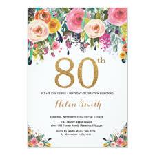 B Day Invitation Cards Floral 80th Birthday Invitation Gold Glitter