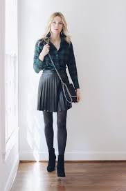 madewell plaid top j crew faux leather pleated skirt