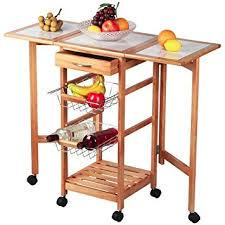 leaf kitchen cart: topeakmart portable rolling drop leaf kitchen island cart white tile top folding trolley table