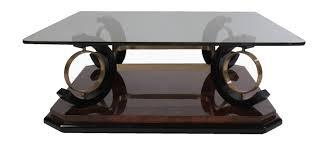 italian mid century modern coffee table having glass top