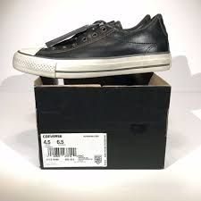 details about new converse john varvados black leather slip ons 156704c men s 4 5 women s 6 5