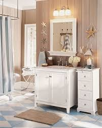 bathroom decor accessories. Cute Rustic Beachy Bathroom Accessories Design With White Marble Top Wooden Vanity And Mounted Mirror Frame Shelves Under Vintage Lamp Ideas Decor