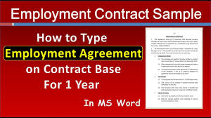 The employment agreement sample below details an agreement between the employer, susan c this sample letter of agreement between employer and employee, susan c clarke and rodolph m. How To Write Employment Contract For Sales Manager In Ms Word Job Employment Agreement Sample Youtube