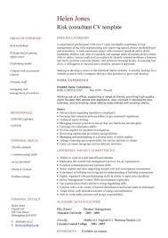Consultant Cv Risk Consultant Cv Template