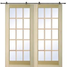 mmi door 72 in x 80 in poplar 15 lite double door with