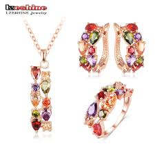 lzeshine new top rose gold plated flower multicolor cubic zircon pendant earrings ring wedding jewelry sets