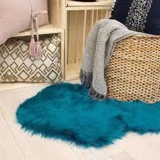 area rug faux fur teal 5 ft x 2 ft area rug