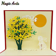 Postcards For Birthday Us 1 45 25 Off 3d Rabbit Flower Pop Up Cards Birthday Gift With Envelope Sticker Laser Cut Animal Greeting Cards Postcards Mid Autumn Festival In