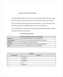Project Summary Template Word