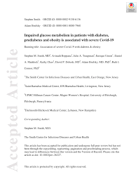 PDF) Impaired glucose metabolism in patients with diabetes, prediabetes,  and obesity is associated with severe COVID-19