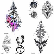 Yuran синяя акварельная сосновая тату дерево женские наклейки компас