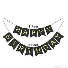 Goer Black Happy Birthday Banner With Shiny Gold Letters For