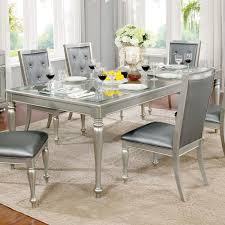 furniture of america glendel glam embossed gl top silver grey dining table with 18 inch
