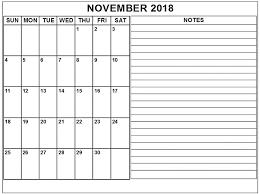 November Through November Calendars November Calendar For 2018 With Notes Free Calendar Templates