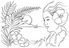 Small Picture Beautiful sunset and Hawaiian woman coloring page Fun Coloring