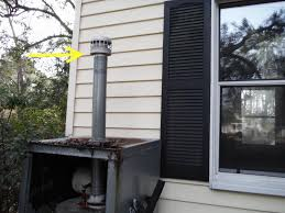 these outdoor water heater closets are never in great condition it seems in this case the vent fails to meet the minimum 5 foot height and is required to
