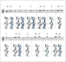 Printable Clarinet Finger Chart Blank Flute Fingering Chart Fingering Chart Saxaphone Blank