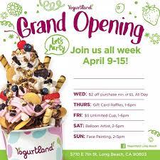 yogurtland long beach grand opening