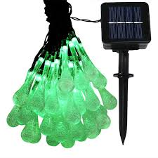 15 Count Led Commercial Style Globe Lights Sunnydaze Led Solar Powered Water Drop String Lights