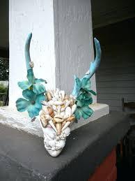 genuine deer head antler wall art door wreath for beach house cabin lodge blue sand antlers