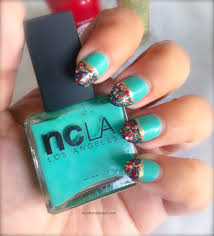 Cute Holiday Nails ~ Mint Green and Teal Nail Art With Glitter and ...