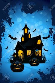 background with bats pumpkins and haunted house stock vector 14590645