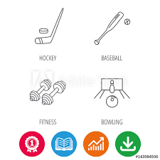 Ice Hockey Bowling And Baseball Icons Fitness Sport Linear