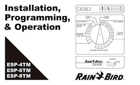 Rain Bird Esp Me Programming Chart Rain Bird Esp 6tm Edocr