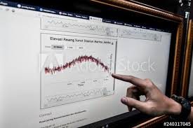 Officer Of Geophysics Agency Looks At A Chart On Tidal Wave