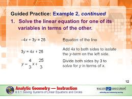 y in terms of x guided practice example 2 continued 1 solve the linear equation for one of