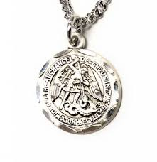 hmh religious sterling silver 0 8 st michael medal pendant 18 chain necklace