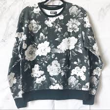 Insight Men S Black Floral Crew Fleece Sweater Nwt