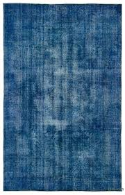 blue over dyed turkish vintage rug 6 4 x 10 1 76 in x 121 in