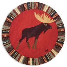 cinnamon moose 3 foot round hooked wool rug