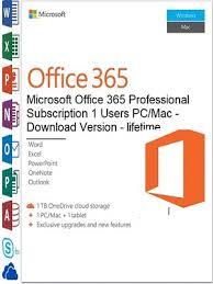 Microsoft Office 365 Pricing Microsoft Office 365 Professional Plus 1users Pc Mac Lifetime