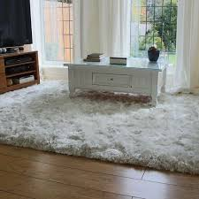 white fuzzy carpet. white ultra thick plush shaggy rug -home decor product fuzzy carpet