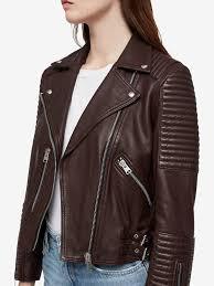 bordeaux red womens allsaints estella leather biker jacket 100 leather