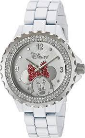 Disney Minnie <b>Mouse</b> Women's <b>Enamel</b> Sparkle White <b>Alloy</b> Watch ...