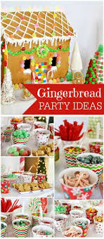 A candyland gingerbread house decorating party with a nacho bar, hot cocoa  bar and a