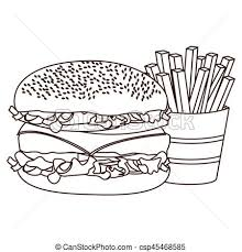 french fries clipart black and white. Simple Clipart Monochrome Contour With Burger And French Fries  Csp45468585 In French Fries Clipart Black And White F