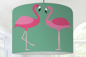 Lampshade Childrens Lamp Flamingo Birds Green Etsy