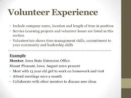 volunteer work for resumes