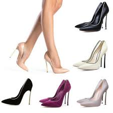 Onlymaker <b>Women</b> Shiny <b>Thin High Heel</b> Pointed Toe Stiletto Slip ...