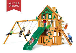 wooden playhouse and swing set studio front view of horizon clubhouse play set from wood playhouse swing set fort plans wooden playhouse swing set