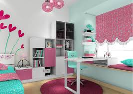 3d girl bedroom desk bay window and curtains